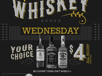 Whiskey Wednesday! Jameson, Jack Daniels & Jim Beam Just $4!