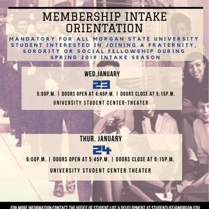 Membership Intake Orientation - Spring 2019
