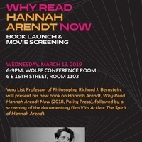Why Read Hannah Arendt Now: Book Launch and Movie Screening