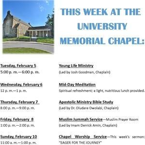 This Week at the Chapel