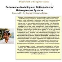 Performance Modeling and Optimization for Heterogeneous Systems