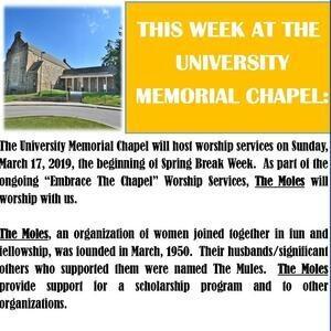 This Week at the University Memorial Chapel