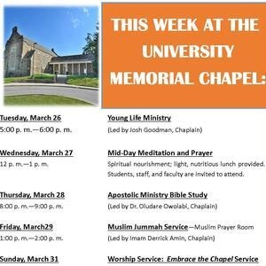 This Week at the University Memorial Chapel