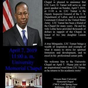 LTC Larry D. Turner to Speak at University Memorial Chapel on 4/7/19