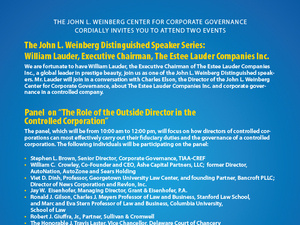"""Panel - """"The Role of the Outside Director in the Controlled Corporation"""""""