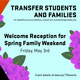 Transfer Student Welcome Reception @ Spring Family Weekend
