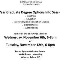 Graduate School of Arts & Sciences, 1-Year Degree Graduate Degree Option, Info Sessions!